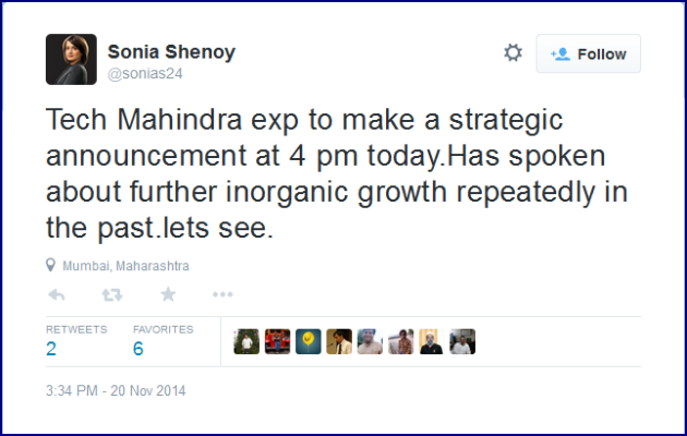 TechMahindra 4pm announcement TWEET by Sonia Shenoy